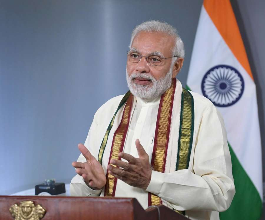 New Delhi: Prime Minister Narendra Modi addresses the programme, through video bridge marking the expansion of Emergency Ambulance Services across the entire island of Sri Lanka, in New Delhi on July 21, 2018. (Photo: IANS/PIB) by .