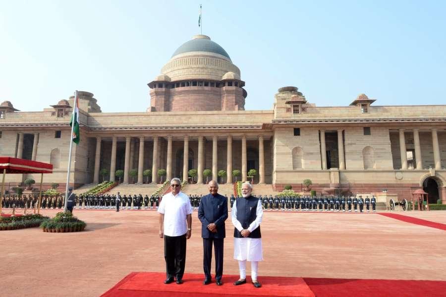 New Delhi: President Ram Nath Kovind, with Prime Minister Narendra Modi receives Sri Lankan President Gotabaya Rajapaksa, during his ceremonial reception in Rashtrapati Bhavan on Nov. 29, 2019. (Photo: IANS) by .