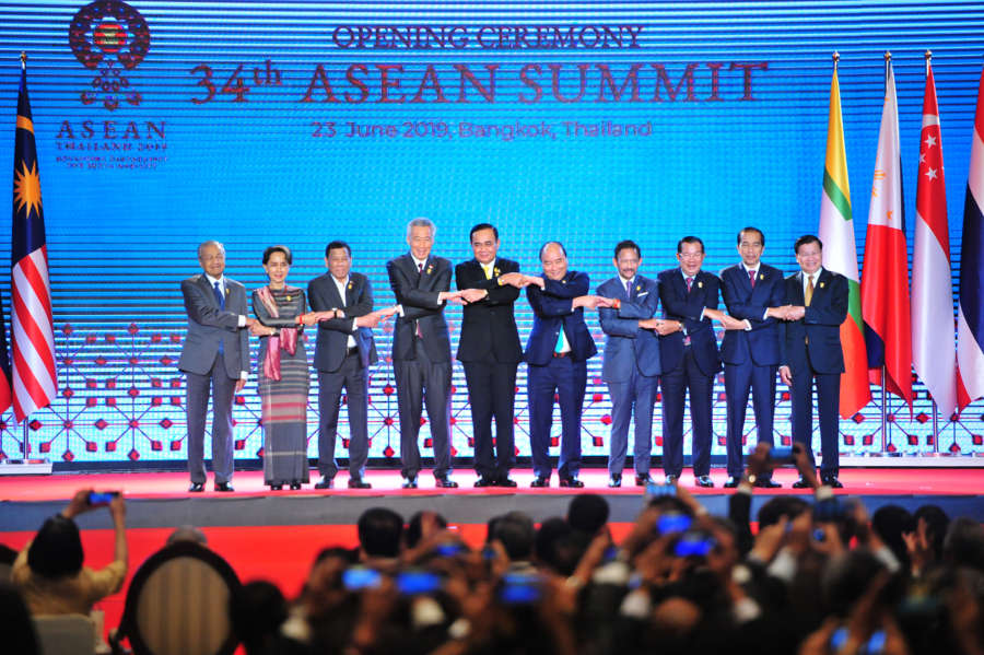 BANGKOK, June 23, 2019 (Xinhua) -- ASEAN leaders pose for a group photo during the opening ceremony of the Association of Southeast Asian Nations (ASEAN) Summit in Bangkok, Thailand, June 23, 2019. The opening ceremony of the 34th ASEAN Summit was held in Bangkok on Sunday. (Xinhua/Rachen Sageamsak/IANS) by Rachen Sageamsak.