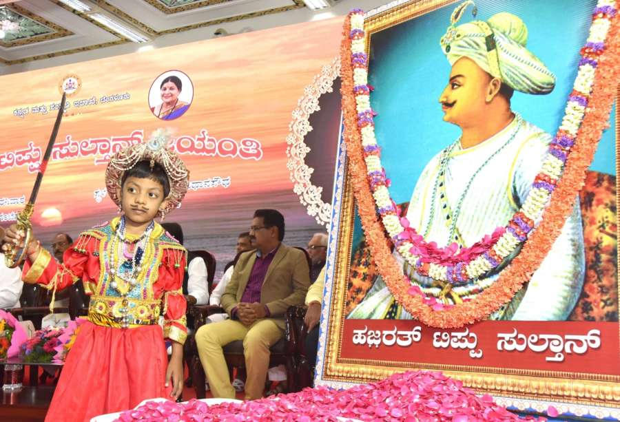 Bengaluru: A child dressed up as erstwhile Mysore (Mysuru) ruler Tipu Sultan during the 269th birth anniversary celebrations of the 18th century controversial ruler, in Bengaluru on Nov 10, 2018. (Photo: IANS) by .