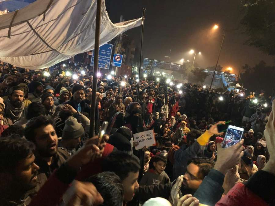 New Delhi: Protestors participate in a protest against newly passed Citizenship Amendment Act (CAA), at Kalindi Kunj-Sarita Vihar road in New Delhi on Dec 17, 2019. (Photo: IANS) by .