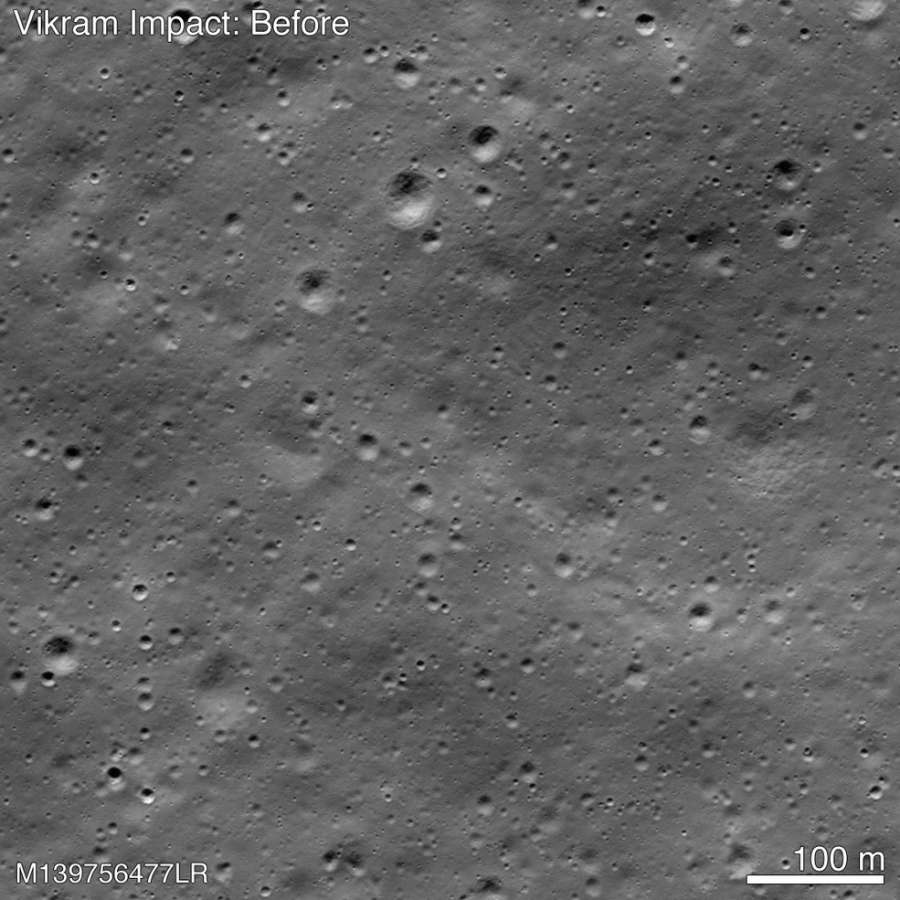 A picture released by NASA shows the point of impact of the Vikram moonlander when it crashed on the moon on September 6, 2019, and where its debris is. The places where the debris is found is marked in green and where the lunar soil was disturbed from the impact and the debris in blue. (Photo: NASA Goddard/Arizona State Univ.) by .