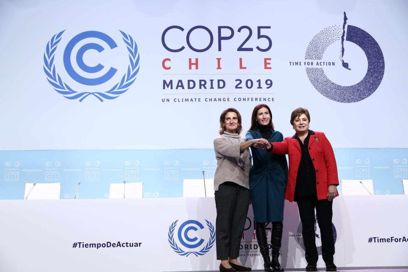 Madrid: UN Climate Change Executive Secretary Patricia Espinosa (R) attends the 25th Conference of the Parties to the United Nations Framework Convention on Climate Change (UNFCCC) or COP25 in Madrid. (Photo: IANS) by .