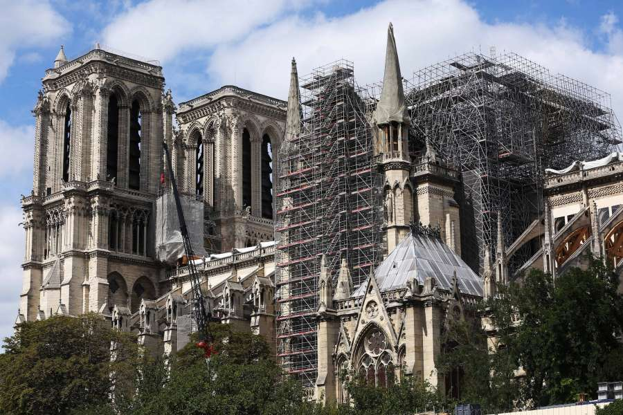 PARIS, Aug. 17, 2019 (Xinhua) -- The Notre Dame Cathedral is undergoing repairs in Paris, France, Aug. 16, 2019. The Notre Dame Cathedral in central Paris caught fire on April 15 this year. (Xinhua/Gao Jing/IANS) by .