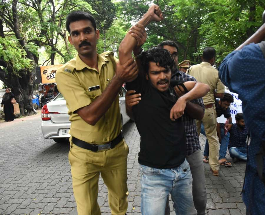 Kochi: Agitators being detained after they protested against the Citizenship Amendment Act (CAA) 2019 and National Register of Citizens (NRC) in Kochi on Dec 19, 2019. (Photo: IANS) by .