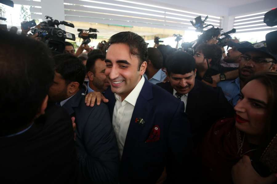 ISLAMABAD, Aug. 13, 2018 (Xinhua) -- Pakistan Peoples Party's (PPP) Chairperson Bilawal Bhutto Zardari talks to media upon his arrival at the National Assembly to attend the first session of the parliament after the general election, in Islamabad, capital of Pakistan on Aug. 13, 2018. The newly elected members of the National Assembly or the lower house of Pakistan's parliament on Monday took the oath, which marks the formal inauguration of the new parliament following the July 25 general elections. (Xinhua/Ahmad Kamal/IANS) by .