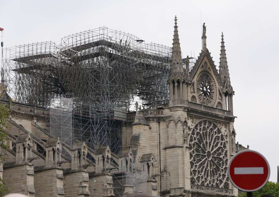 PARIS, April 16, 2019 (Xinhua) -- Photo taken on April 16, 2019 shows the damaged Notre Dame Cathedral after a fire in Paris, France. French President Emmanuel Macron on Tuesday vowed to rebuild Notre Dame Cathedral, devastated by fire on Monday evening, within five years, calling on the French to remain united. In early Monday evening, a fire broke out in the famed cathedral. Online footage showed thick smoke billowing from the top of the cathedral and huge flames between its two bell towers engulfing the spire and the entire roof which both collapsed later. (Xinhua/Gao Jing/IANS) by .