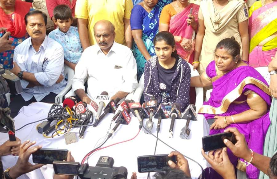 Hyderabad: The family members of the young veterinarian who was brutally gang raped and murdered, talk to the media after the police shot dead all the four accused in an alleged 'encounter' near Shadnagar town of Telangana's Ranga Reddy district; in Hyderabad on Dec 6, 2019. The family of the veterinarian said that justice has been done after all the four accused were killed in the encounter. (Photo: IANS) by .