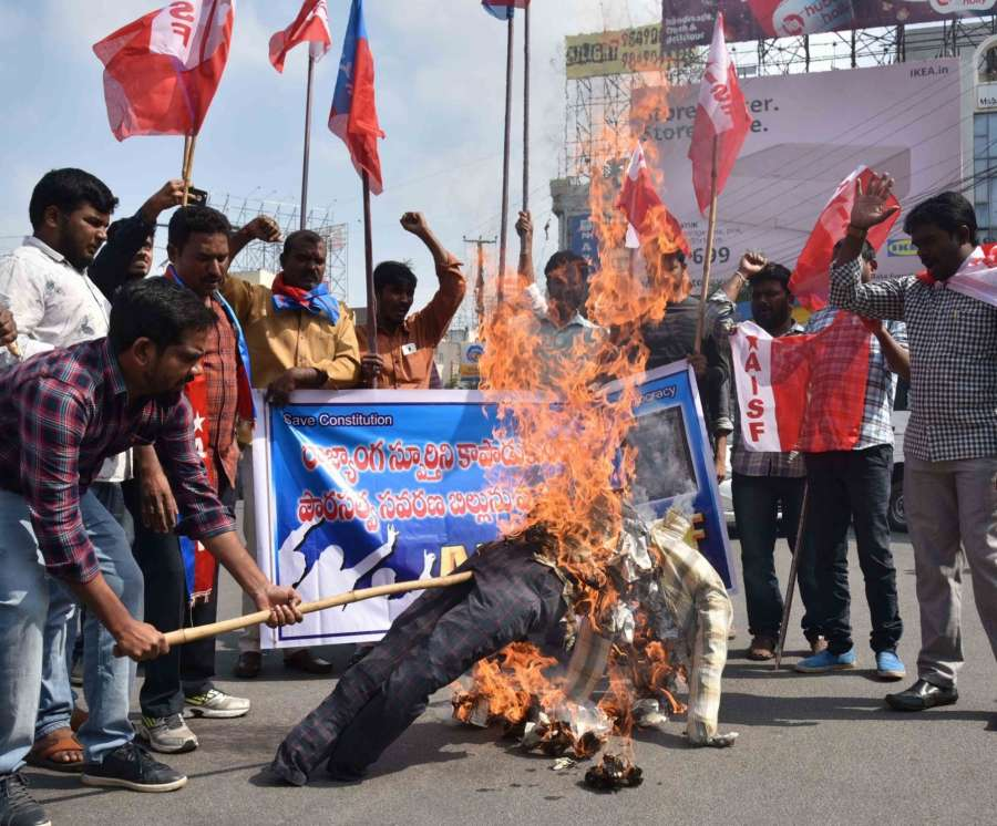 Hyderabad: Student activists of All India Students Federation (AISF) and All India Youth Federation (AIYF) stage a demonstration against the Citizenship Amendment Act 2019, in Hyderabad on Dec 14, 2019. (Photo: IANS) by .