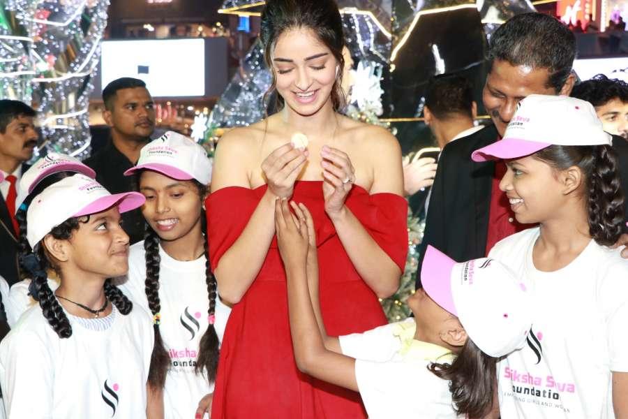 Mumbai: Actress Ananya Panday celebrates Christmas with childrens of charitable trust at Palladium Mall, in Mumbai on Dec 14, 2019. (Photo: IANS) by .