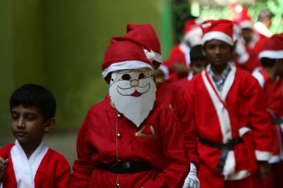 Chennai: Children dressed up as Santa Clause participate in pre-Christmas celebrations at their school in Chennai, on Dec 11, 2019. (Photo: IANS) by .