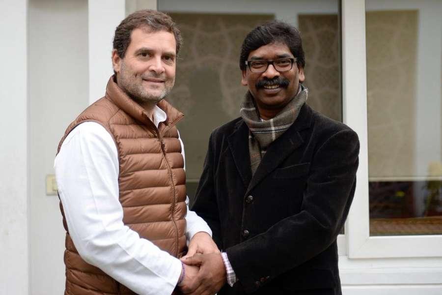 New Delhi: Congress President Rahul Gandhi meets Jharkhand Mukti Morcha leader Hemant Soren in New Delhi, on Feb 7, 2019. (Photo: IANS/AICC) by .