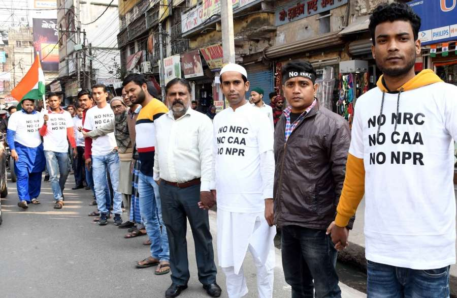Patna: People participate in a human chain campaign to protest against the Citizenship Amendment Act (CAA) 2019, National Register of Citizens (NRC) and National Population Register (NPR), in Patna on Jan 25, 2020. (Photo: IANS) by .