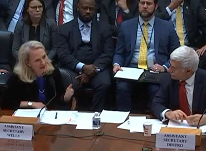 Acting Assistant Secretary of State for South Asia Alice Wells, left, and Assistant Secretary of State for Human Rights Robert Destro speak at a hearing on human rights in South Asia held by the House of Representatives Subcommittee on Asia and the Pacific on Tuesday, October 22, 2019. (Photo: House Subcommittee) by .