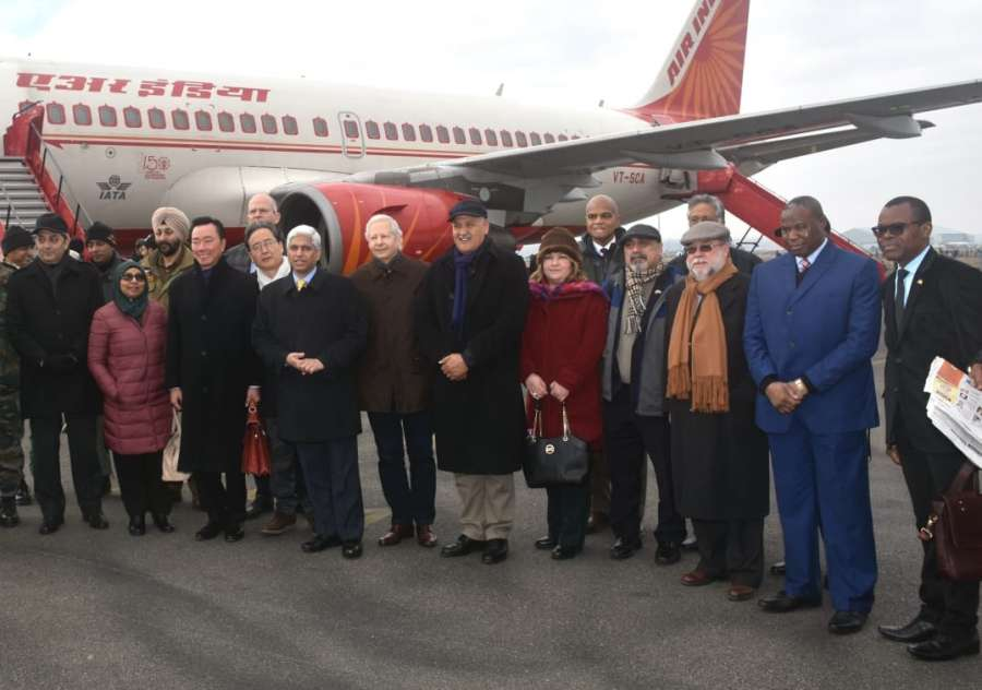 Srinagar: A delegation of 17 foreign envoys arrive in Srinagar to take stock of the ground situation in the Kashmir Valley, on Jan 9, 2020. US ambassador Kenneth I. Juster is also a part of the delegation. (Photo: IANS) by .