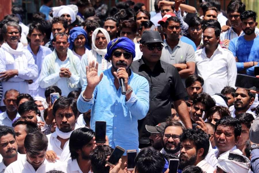 Jaipur: Bhim Army chief Chandrashekhar Azad Ravan addresses during a demonstration against Alwar gang rape, in Jaipur on May 10, 2019. (Photo: Ravi Shankar Vyas/IANS) by .