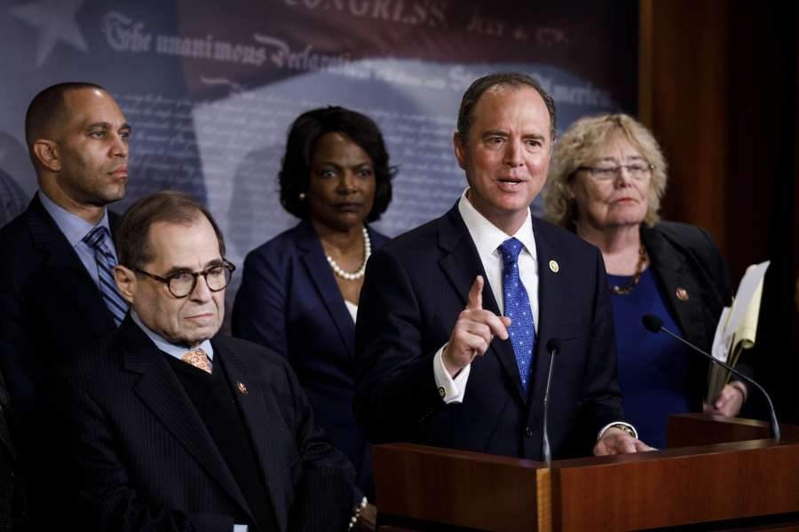 WASHINGTON, Jan. 25, 2020 (Xinhua) -- U.S. House Intelligence Committee Chairman Adam Schiff (2nd R) speaks at a press conference during the Senate impeachment trial on Capitol Hill in Washington D.C., the United States, on Jan. 25, 2020. U.S. President Donald Trump's legal team started Saturday to make opening arguments in defense of the president in the ongoing impeachment trial in the Senate, after House managers, a group of seven House Democrats acting as prosecutors, argued for the president's conviction and removal from office over the last three days. (Photo by Ting Shen/Xinhua/IANS) by .