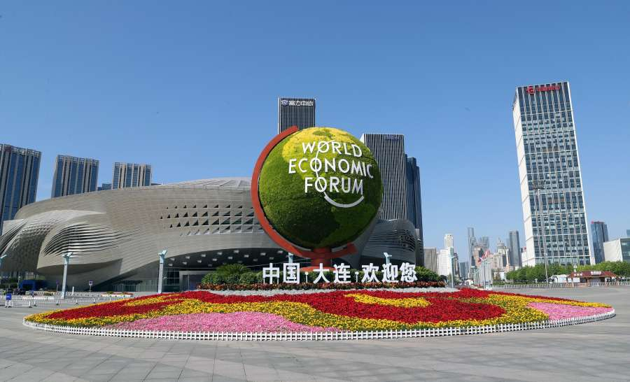 DALIAN, July 2, 2019 (Xinhua) -- Photo taken on July 2, 2019 shows the Dalian International Conference Center, venue of the Annual Meeting of the New Champions 2019, also known as Summer Davos, in Dalian, northeast China's Liaoning Province. The opening plenary of Summer Davos is held here on Tuesday. (Xinhua/Yang Qing/IANS) by .