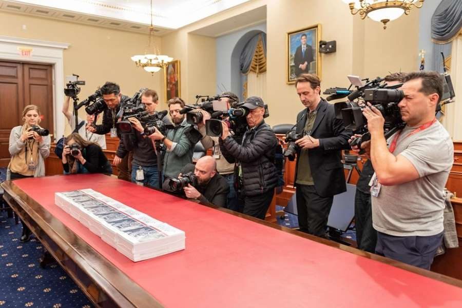 The proposed United States budget for 2021 is readied for release at the US Capitol in Washington on Monday, February 10, 2020. (Photo: USGPO/IANS) by .