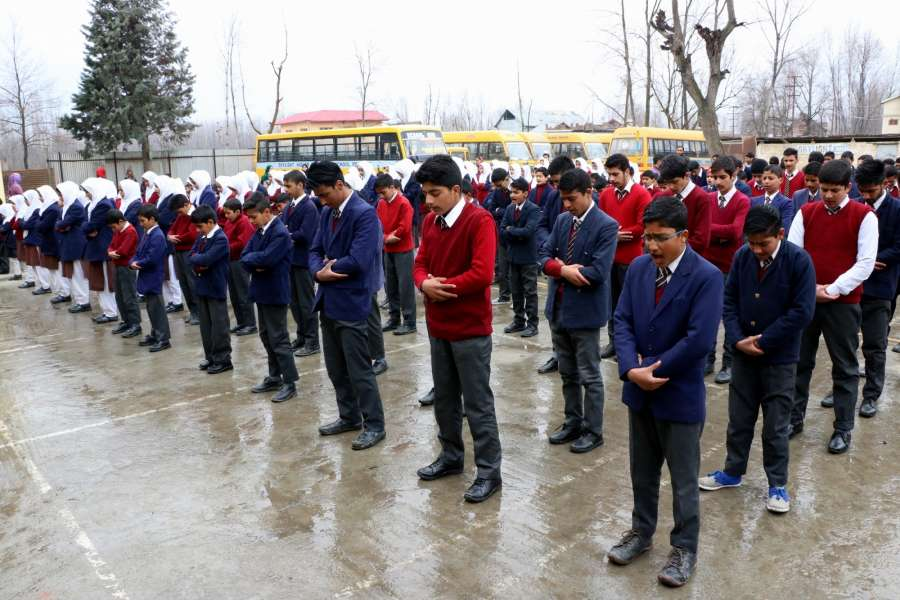 Srinagar: School students attend assembly as schools re-open after winter-break in Srinagar on March 1, 2017. (Photo: IANS) by .