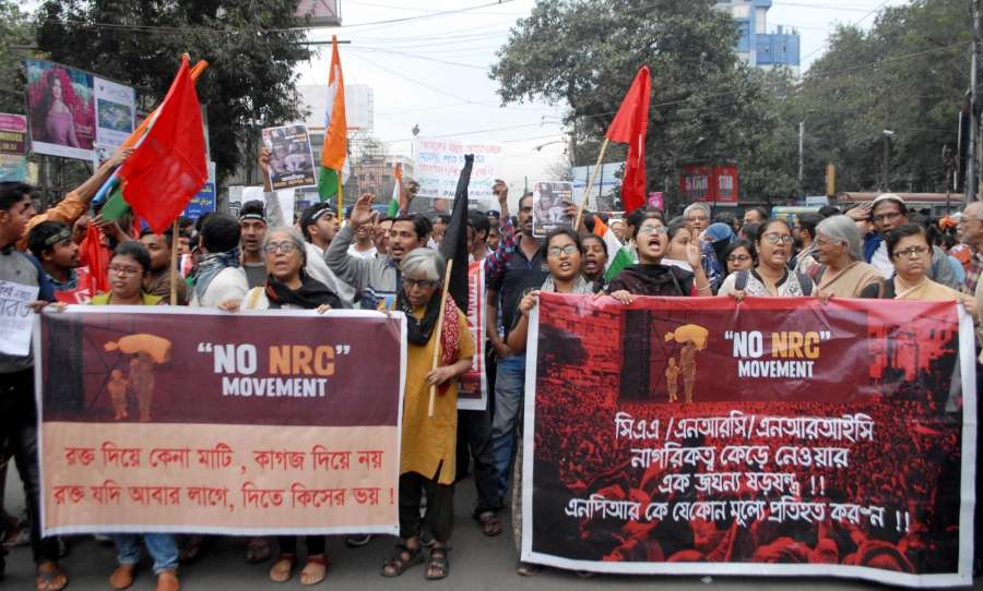 Kolkata: Activists take out a protest rally against violence and condemned the clashes between pro and anti-CAA groups in Delhi; in Kolkata on Feb 25, 2020. (Photo: Kuntal Chakrabarty/IANS) by .