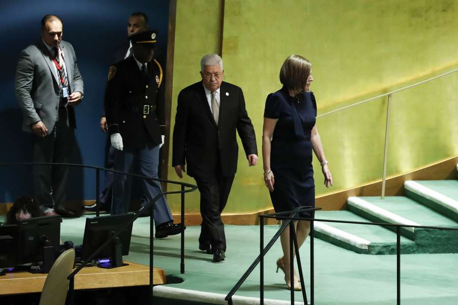 UNITED NATIONS, Sept. 26, 2019 (Xinhua) -- Palestinian President Mahmoud Abbas (2nd R) arrives to address the General Debate of the 74th session of the UN General Assembly at the UN headquarters in New York, on Sept. 26, 2019. (Xinhua/Li Muzi/IANS) by .