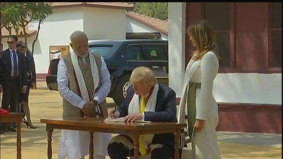 Trump signs visitor's book at Sabarmati Ashram, thanks 'friend' Modi for 'wonderful visit' by .