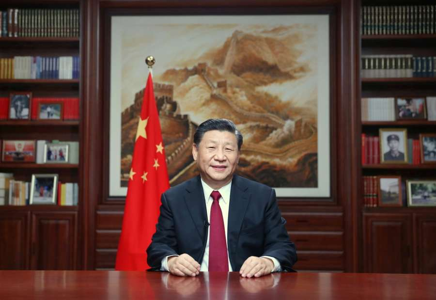 BEIJING, Dec. 31, 2019 (Xinhua) -- Chinese President Xi Jinping delivers a New Year speech Tuesday evening in Beijing to ring in 2020. (Xinhua/Ju Peng/IANS) by .