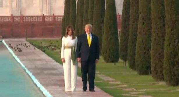 Agra: US President Donald Trump and First Lady Melania Trump pose in front of the Taj Mahal in Agra on Feb 24, 2020. (Photo: IANS) by .