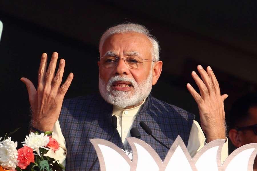 New Delhi: Prime Minister Narendra Modi addresses during 'Vijay Sankalp' rally organised by the BJP ahead of February 8 Delhi Assembly elections, at Karkardooma's CBD Ground in New Delhi on Feb 3, 2020. (Photo: IANS) by .