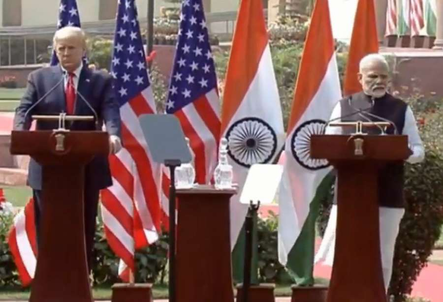 New Delhi: Prime Minister Narendra Modi and US President Donald Trump address Joint Press Meet at Hyderabad House in New Delhi on Feb 25, 2020. (Photo: IANS) by .