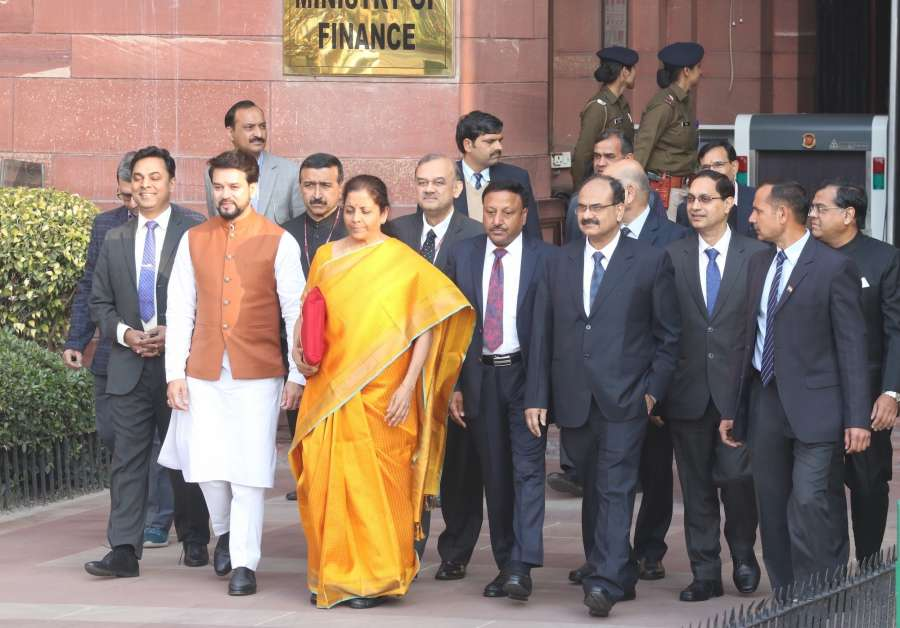 New Delhi: Union Finance and Corporate Affairs Minister Nirmala Sitharaman and MoS Finance and Corporate Affairs Anurag Thakur leave to meet President Ram Nath Kovind ahead of presenting the Union Budget 2020 in the Parliament, in New Delhi on Feb 1, 2020. (Photo: IANS) by .
