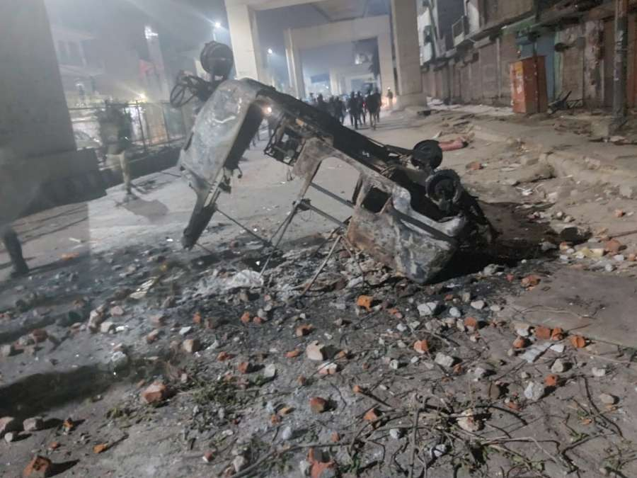 New Delhi: A view of vehicles which was gutted during the violence in Maujpur and Jafrabad in New Delhi on Feb 24, 2020. (Photo: IANS) by .