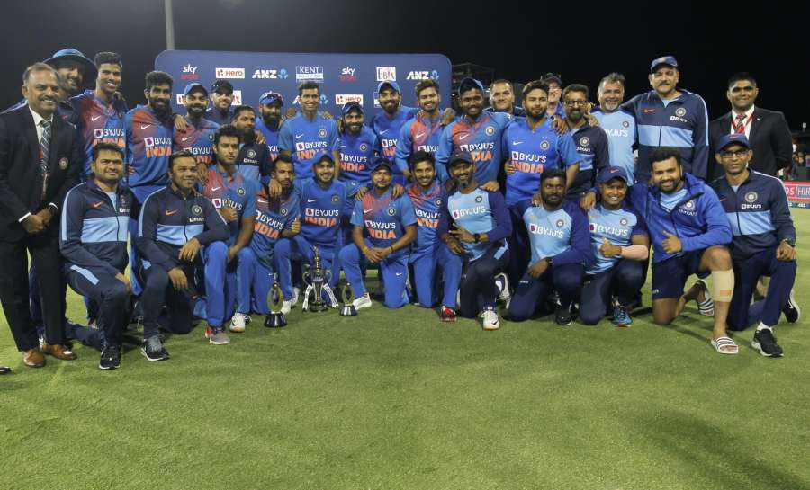 Mount Maunganui: Indian players pose with the Winners Trophy after India scripted an unprecedented 5-0 series whitewash with a seven-run victory against New Zealand in the fifth and final T20I at Bay Oval, Mount Maunganui in New Zealand on Feb 2, 2020. (Photo: Surjeet Yadav/IANS) by .