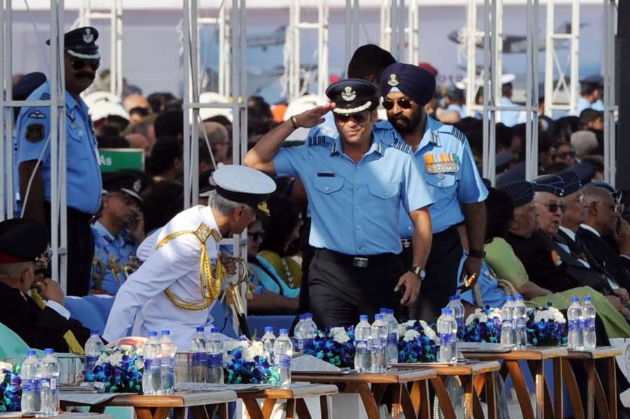 Ghaziabad: Navy Chief Admiral Karambir Singh and Cricket legend and honorary Group Captain Sachin Tendulkar during the 87th anniversary celebrations of the Indian Air Force (IAF) at Hindon Air Force Station in Ghaziabad, on Oct 8, 2019. (Photo: IANS) by .
