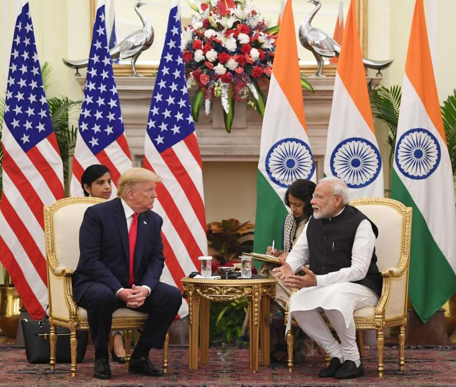 New Delhi: Prime Minister Narendra Modi meets US President Donald Trump at the Hyderabad House in New Delhi on Feb 25, 2020. (Photo: IANS/PIB) by .