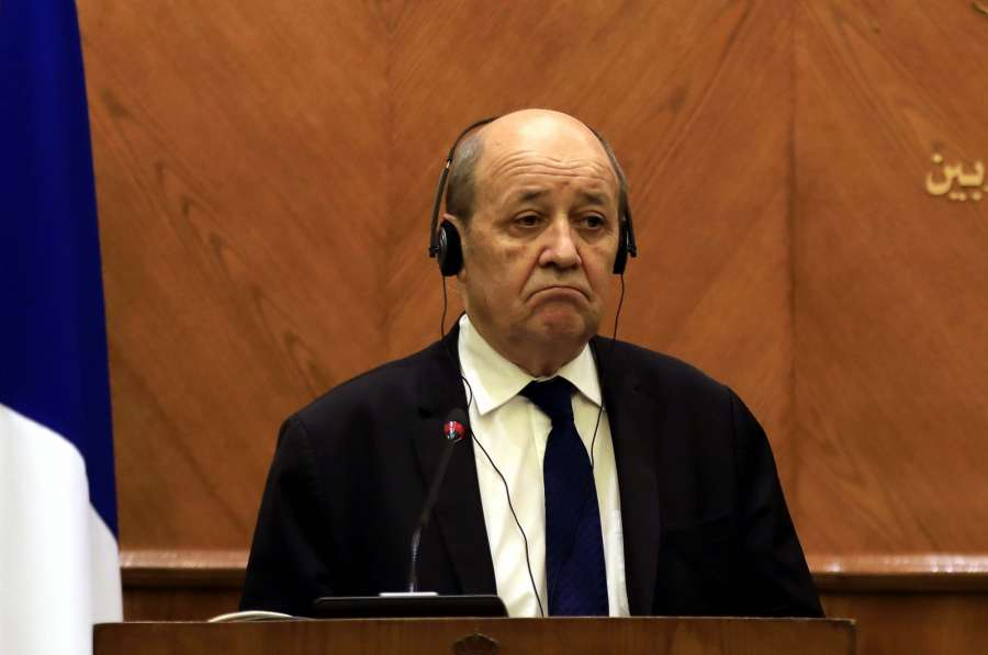 AMMAN, Jan. 13, 2019 (Xinhua) -- Visiting French Foreign Minister Jean-Yves Le Drian attends a joint press conference with Jordanian Minister of Foreign Affairs Ayman Safadi (not in the picture) in Amman, Jordan, on Jan. 13, 2019. Jordanian Minister of Foreign Affairs Ayman Safadi said on Sunday that France and Jordan agreed that the lack of a solution to the Palestinian-Israeli conflict threatens the security of Middle East. (Xinhua/Mohammad Abu Ghosh/IANS) by .