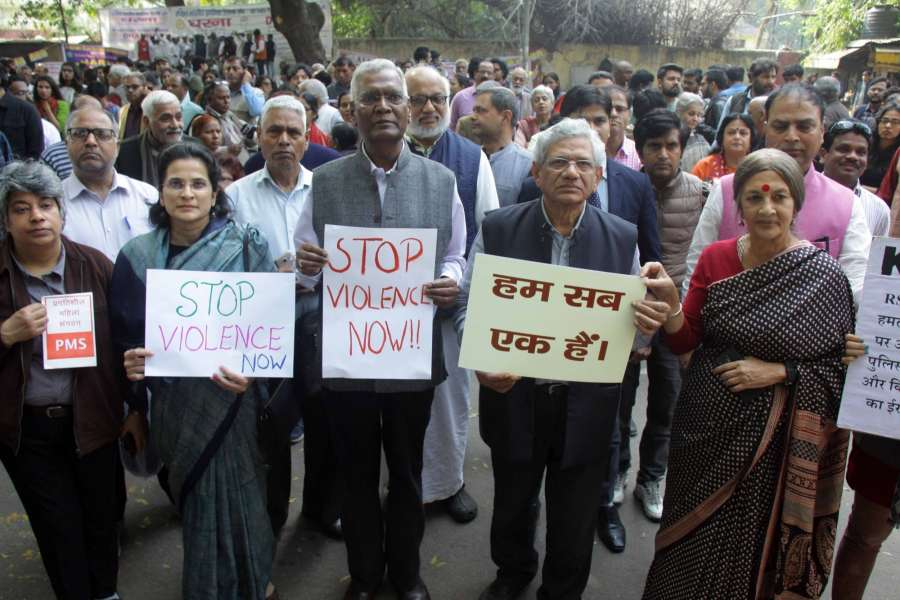 New Delhi: CPI(M) general secretary Sitaram Yechury, CPI general secretary D Raja and CPI(M) leader Brinda Karat particiapte in a rally against violence and condemned the clashes between pro and anti-CAA groups in Delhi; in New Delhi on Feb 26, 2020. (Photo: IANS) by .