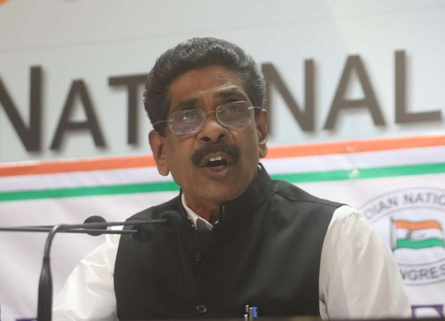 New Delhi: Congress leader Mullappally Ramachandran addresses a press conference in New Delhi on Dec 11, 2017. Rahul Gandhi, who is putting up a spirited campaign against Prime Minister Narendra Modi and the BJP in Gujarat, was on Monday elected the President of the Congress party taking over from his mother who had helmed the party for 19 turbulent years. (Photo: IANS) by .