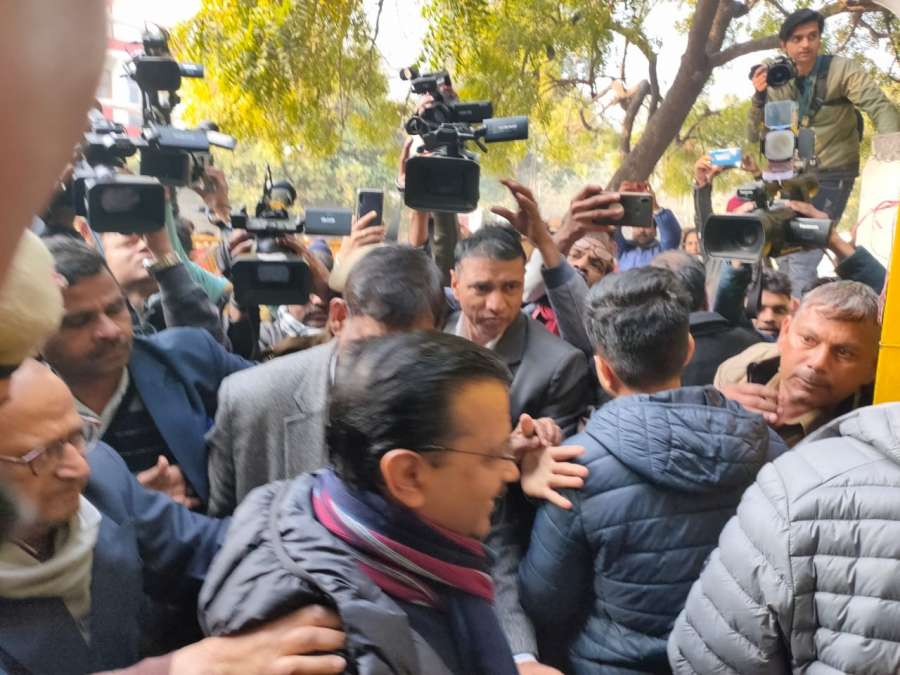 Arvind Kejriwal reaches polling booth in Delhi, about to cast his vote. by .