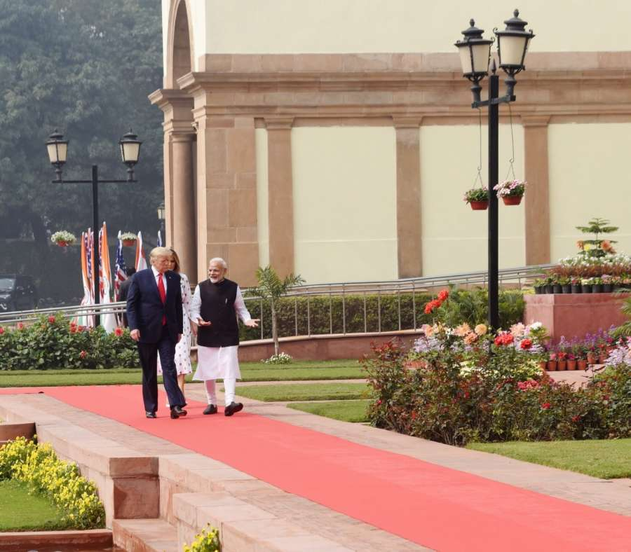 New Delhi: Prime Minister Narendra Modi receives US President Donald Trump at the Hyderabad House in New Delhi on Feb 25, 2020. (Photo: IANS/MEA) by .