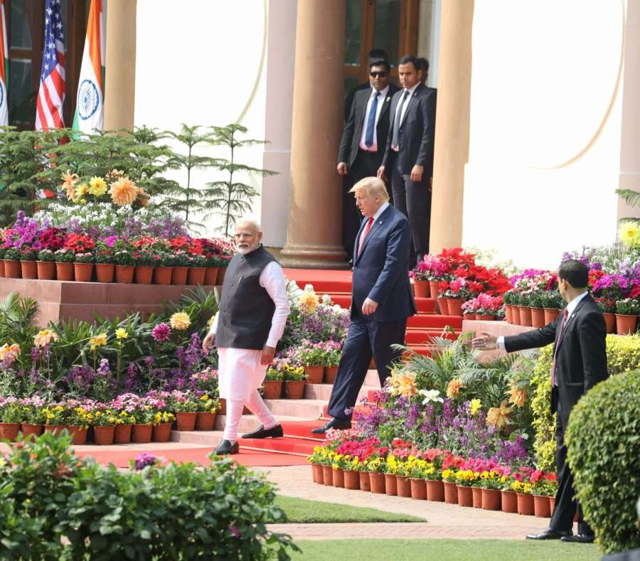 New Delhi: Prime Minister Narendra Modi and US President Donald Trump arrive to address Joint Press Meet at Hyderabad House in New Delhi on Feb 25, 2020. (Photo: IANS) by .