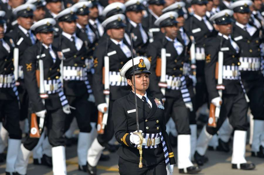 New Delhi: The Indian Naval contingent marches past Rajpath during the 71st Republic Day parade, in New Delhi on Jan 26, 2020. (Photo: IANS/RB) by .