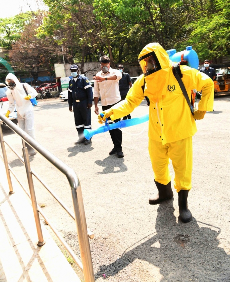 Hyderabad: Disinfectants being sprayed across various parts of Hyderabad on the orders of the Telangana Government as a precautionary measure to contain COVID-19 amid coronavirus pandemic, on March 20, 2020. (Photo: IANS) by .