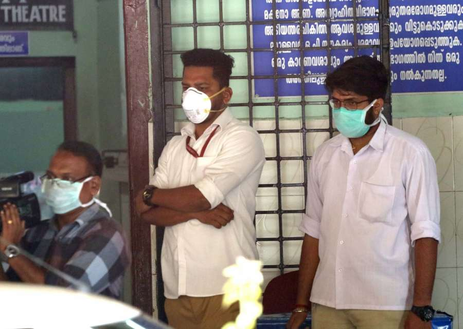 Thrissur: People wearing mask to take precaution against the Coronavirus (2019-nCoV) outside a hospital in Thrissur, Kerala on Jan 31, 2020. (Photo: IANS) by .