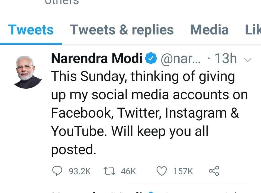 Modi set to make major social media announcement on Sunday. by .
