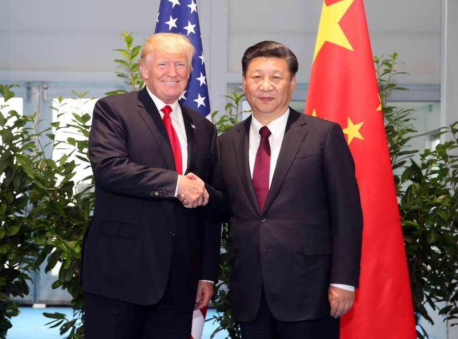 HAMBURG, July 8, 2017 (Xinhua) -- Chinese President Xi Jinping (R) meets with his U.S. counterpart Donald Trump to discuss bilateral ties and global hot-spot issues on the sidelines of a Group of 20 (G20) summit, in Hamburg, Germany, July 8, 2017. (Xinhua/Yao Dawei/Jin Yu/IANS) by .