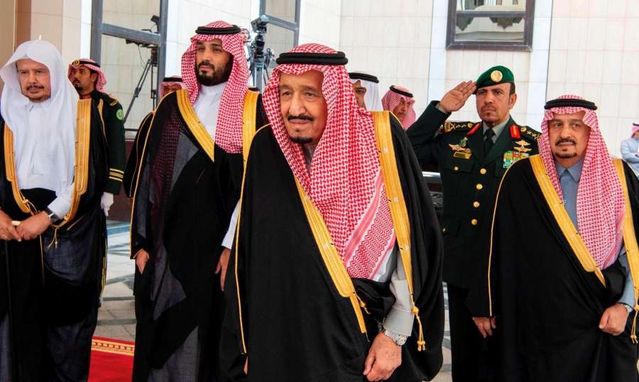 RIYADH, Nov. 20, 2019 (Xinhua) -- Saudi King Salman bin Abdulaziz Al Saud (C, Front) attends the 7th session of the Shura Council in Riyadh, Saudi Arabia, on Nov. 20, 2019. Saudi King Salman bin Abdulaziz Al Saud said on Wednesday that the revenues of the Saudi Aramco's initial public offering will be channelled to Saudi Arabia's sovereign wealth fund to boost investment inside and outside the kingdom, the Saudi Press Agency reported. (Xinhua/IANS) by .