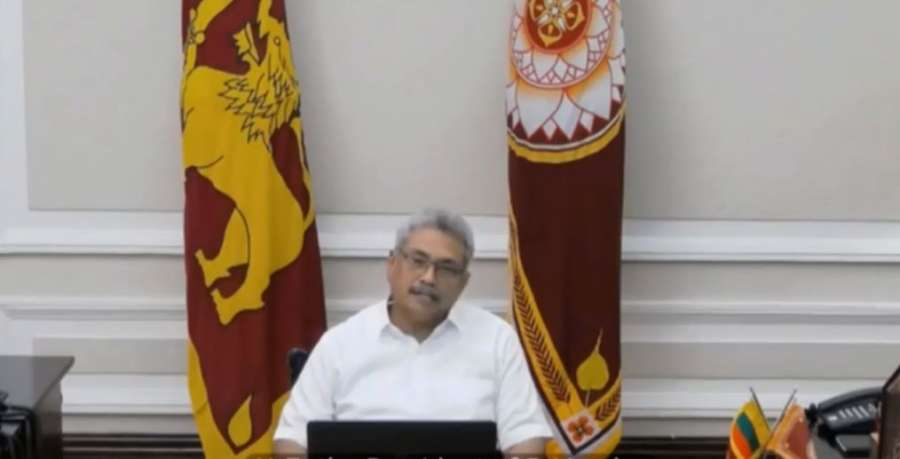 Colombo: Sri Lankan President Gotabaya Rajapaksa interacts with the leaders of SAARC nations on combating COVID-19 (Coronavirus) pandemic, via video conferencing in Colombo on March 15, 2020. (Photo: IANS/PIB) by .