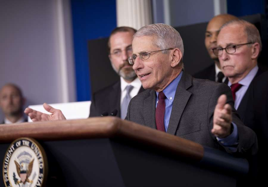 WASHINGTON D.C., March 11, 2020 (Xinhua) -- Anthony Fauci, director of the U.S. National Institute of Allergy and Infectious Diseases, attends a press conference on the COVID-19 at the White House in Washington D.C. March 10, 2020. The number of COVID-19 cases in the United States have topped 1,000 by 11:30 p.m. EST Tuesday (0330 GMT on Wednesday), reaching 1,001 with 28 deaths, according to the Center for Systems Science and Engineering (CSSE) at Johns Hopkins University. (Xinhua/Liu Jie/IANS) by .